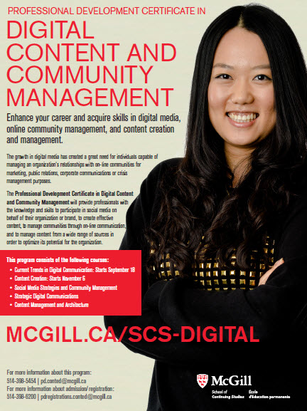 McGill Digital content and community mgmt flyer